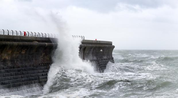 The high winds affected ferry routes into Dover, Kent (PA)