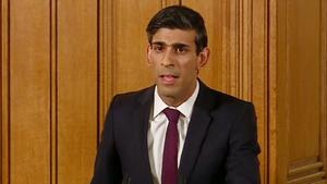 Chancellor Rishi Sunak speaking at a media briefing in Downing Street (PA)