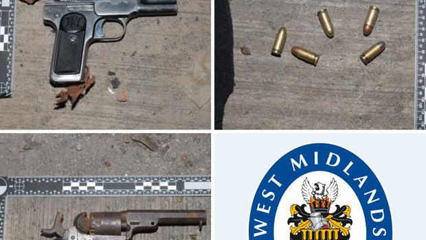 Two handguns; an antique revolver and a semi-automatic pistol, recovered in Birmingham along with ammunition on May 23 by West Midlands Police, amid or spate of shootings in the region (West Midlands Police/PA)