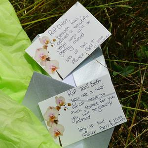 Tributes left by the river where Tonibeth Purvis and Chloe Fowler died after getting into trouble