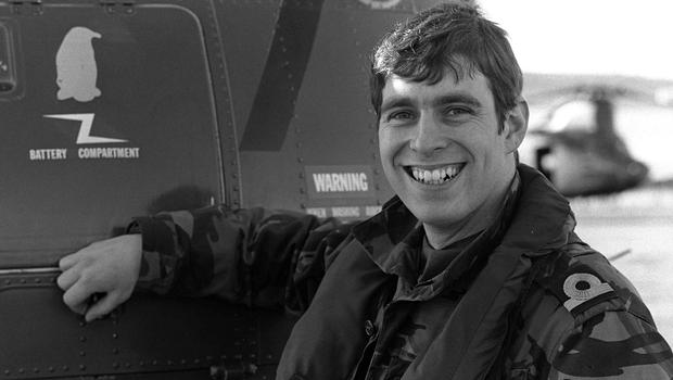 Andrew at Port Stanley as a helicopter pilot with HMS Invincible during the Falklands War in 1982 (Martin Cleaver/PA)