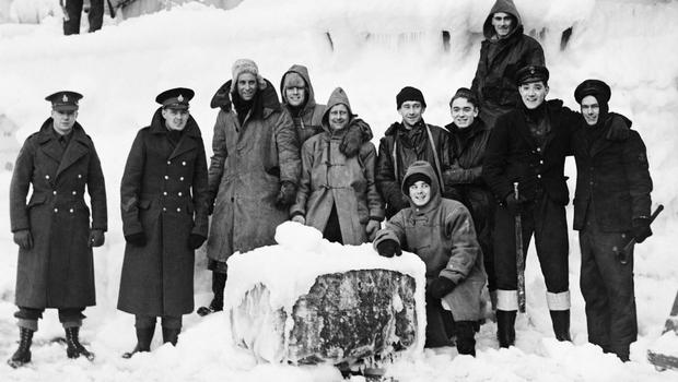 Ice on the superstructure of Arctic Convoy vessel HMS Belfast in November 1943 (Imperial War Museum/PA)