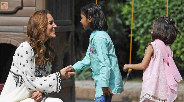 Duchess of Cambridge during a visit to the SOS Village in Lahore (Neil Hall/PA)