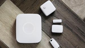 A hub and sensors unveiled by Samsung which will enable people to control and monitor their homes remotely
