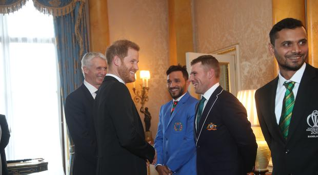 The Duke of Sussex meets Australia cricket captain Aaron Finch and other captains of the teams taking part in the ICC Cricket World Cup (PA)