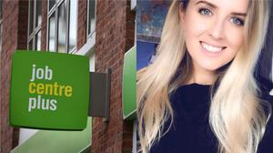 A Job Centre Plus in London, and Rebecca Ellis, who lost her job due to the coronavirus pandemic (Philip Toscano/PA and Rebecca Ellis)