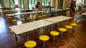 Tables are marked showing where children can sit during dinner time at Kempsey Primary School in Worcester. Nursery and primary pupils could return to classes from June 1 following the announcement of plans for a phased reopening of schools (Joe Giddens/PA)