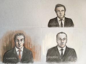 Court artist sketch of Mr Justice Warby (bottom left) Antony White QC, for Associated Newspapers (bottom right) and David Sherborne the lawyer representing the Duchess of Sussex, during a virtual High Court hearing (Elizabeth Cook/PA)