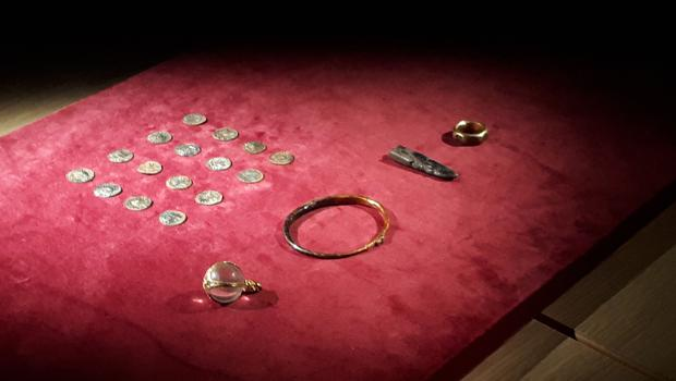 Some of the hoard items recovered by police (BBC/PA)
