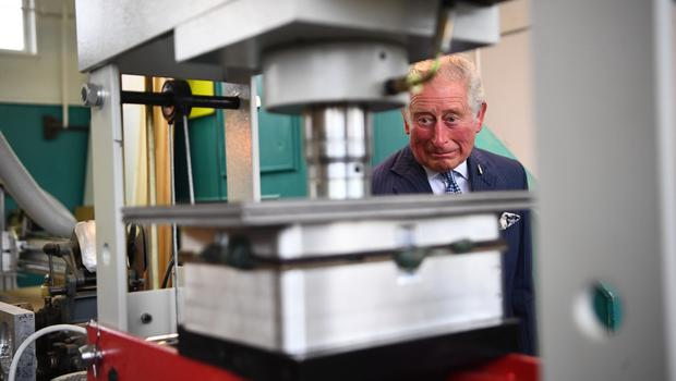 Earlier in the day, Charles visited a plant that makes products out of plastic waste (Victoria Jones/PA)