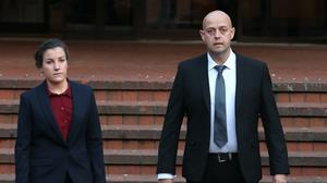 Police constables Benjamin Monk, who is accused of the murder of Dalian Atkinson, and Mary Ellen Bettley-Smith, who is accused of assaulting him, pictured leaving a previous Birmingham Crown Court hearing (PA)