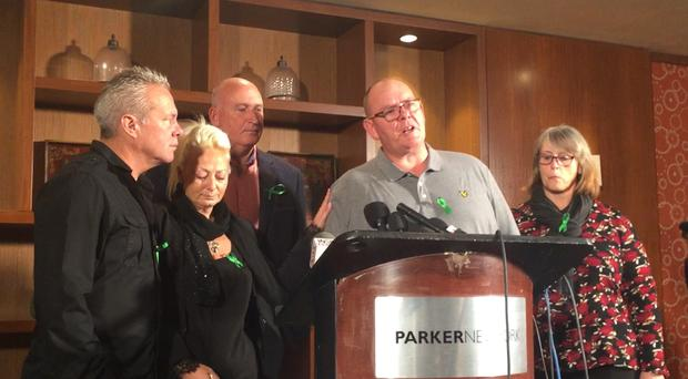 (Left to right) Bruce Charles and Charlotte Charles (Harry's mother), lawyer Radd Seiger, Tim Dunn (Harry's father) and Tracey Dunn at a press conference at the Parker New York Hotel in New York, US, where Charlotte Charles said that Anne Sacoolas, the American woman suspected of causing her son's death, should be brought back to the UK to face justice.
