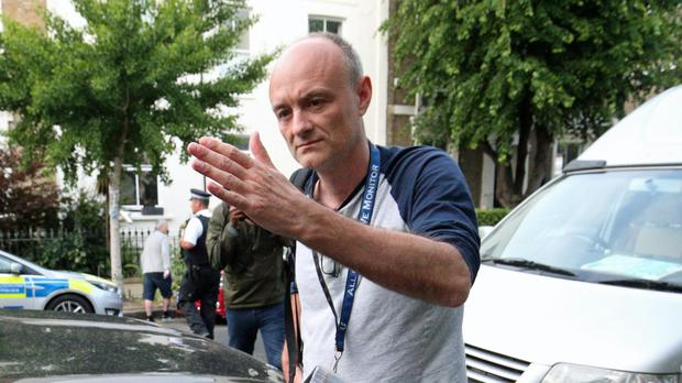 Dominic Cummings arriving back to his north London home, the day after he a gave press conference over allegations he breached coronavirus lockdown restrictions (PA)
