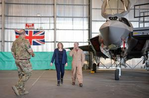 Penny Mordaunt with John Butcher, the officer commanding 617 squadron (right) and Group Captain Jonny Moreton (left), at RAF Akrotiri (Jacob King/PA)