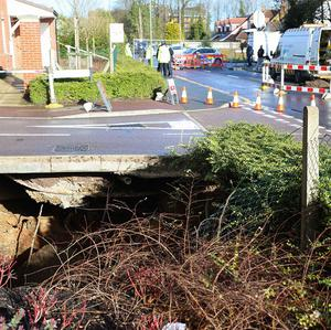 A view of the sinkhole in Hemel Hempstead, which is approximately 35ft wide and 20ft deep.