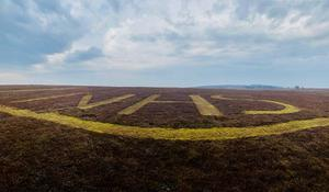 The NHS letters cut into heather on the hill by gamekeepers on Greenlaw Moor (SUMG/PA)
