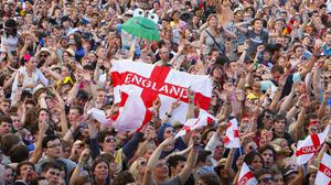 England fans sing along to Three Lions (Chris Ison/PA)
