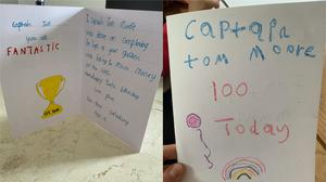 Birthday cards from two children for Captain Tom Moore, who has raised more than £14 million for the NHS (Naina Grindlay and Louise Mullane)
