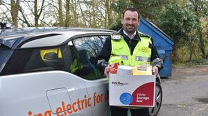 A traffic warden who has taken on a new role in the coronavirus crisis, delivering essential food boxes (evenoaks District Council/PA)