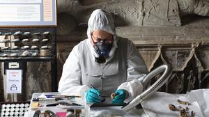 An archaeologist looking at human remains at Church of St Mary and St Eanswythe in Folkestone (Mark Hourahane/Diocese of Canterbury /PA)