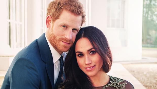 Meghan Markle wearing a Ralph and Russo gown in her engagement photos (Alexi Lubomirski/PA)