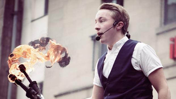 Airline pilot Robbie Cockburn performing his fire juggling act (Robbie Cockburn/PA)