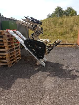 The T7 robot being put through its paces (MoD/PA)