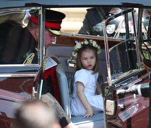 Princess Charlotte and the Duke of Cambridge leave St George's Chapel after the wedding (Jane Barlow/PA)