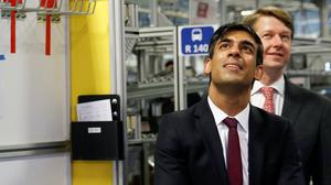 Chancellor Rishi Sunak a visit to Worcester Bosch factory (Phil Noble/PA)