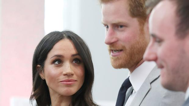 Meghan Markle looks at Prince Harry during a reception for delegates from the Commonwealth Youth Forum (Yui Mok/PA)