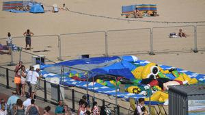 A police cordon at Gorleston beach in Norfolk, where Ava-May Littleboy was thrown from a bouncy castle (Joe Giddens/PA)