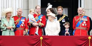 The Duchess of Cornwall, the Prince of Wales, Prince George, the Duke and Duchess of Cambridge, Queen Elizabeth II, Prince Harry, James Viscount Severn, the Duke of Edinburgh and the Duke of York on the balcony at Buckingham Palace following Trooping the Colour at Horse Guards Parade, London, in 2015 (Jonathan Brady/PA)