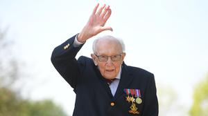 Captain Tom Moore at his home in Marston Moretaine, Bedfordshire (Joe Giddens/ PA)