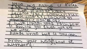 Kirah's handwritten letter to Ron (@hey_im_ginger/Twitter)