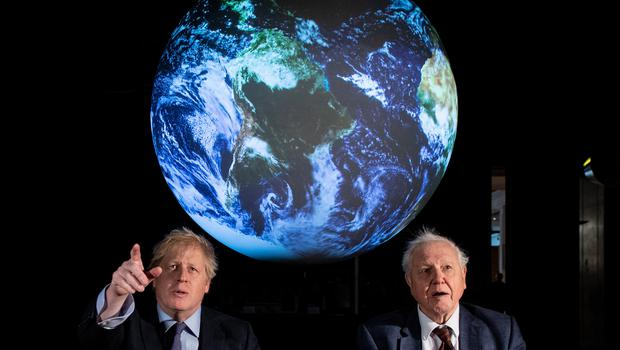 Prime Minister Boris Johnson and Sir David Attenborough at the launch of the next COP26 UN Climate Summit at the Science Museum, London (Chris J Ratcliffe/PA)
