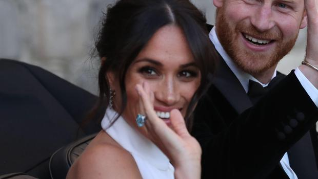 Meghan wearing what is thought to be Diana's ring (Steve Parsons/PA)