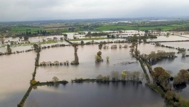 Flooding near Forthampton which is next to Tewkesbury, Gloucestershire (PA)