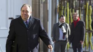 Former Scottish first minister Alex Salmond arrives at the High Court in Edinburgh for the seventh day of his trial (Andrew Milligan/PA)
