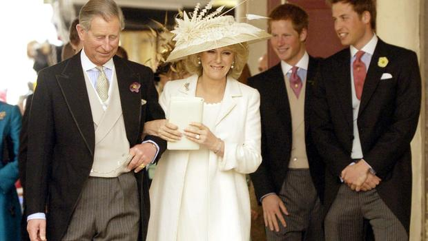 Charles and Camilla with Prince Harry and Prince William after their civil ceremony (Phil Wilkinson/TSPL/PA)