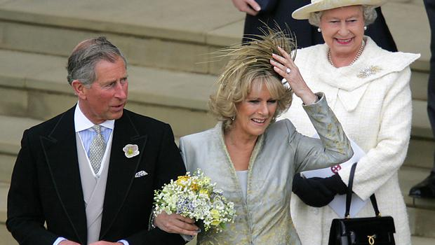Charles and Camilla with the Queen on the West Steps of St George's Chapel (Odd Andersen/PA)