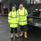 Kenny McAdam (left) and Tony Scanlon at Dalmoak Recycling Centre in Renton (West Dunbartonshire Council/PA)