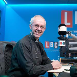 Archbishop of Canterbury Justin Welby joins LBC presenter James O'Brien to host his first live radio phone-in at their studios in central London