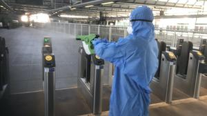 Britain's largest rail franchise is using disinfectant which it claims will kill coronavirus on surfaces for up to 30 days (Govia Thameslink Railway/PA)