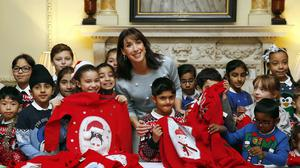 Prime Minister's wife Samantha Cameron marks Save the Children's Christmas Jumper Day at 10 Downing Street
