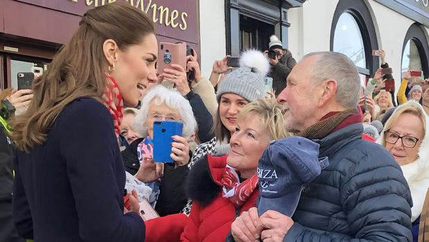 The Duchess of Cambridge meeting Denise Evans-Allford and Kevin Allford (Claire Hayhurst/PA)