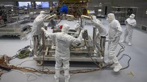 The European Space Agency's ExoMars rover being prepared to leave Airbus in Stevenage (Aaron Chown/PA)