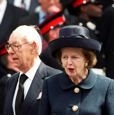 Margaret Thatcher pictured with her husband Denis in 1999