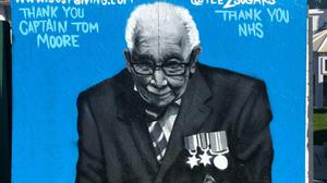 The mural of Captain Tom Moore appeared on a wall in Merthyr Tydfil (Tee2Sugars)