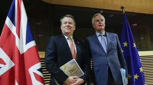 The UK's David Frost and Brussels' chief negotiator Michel Barnier met for dinner on Monday before trade talks formally recommence (Olivier Hoslet/Pool/AP, File)