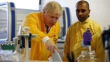 Prime Minister Boris Johnson visits a laboratory at the Public Health England National Infection Service in Colindale, north London, as the number of confirmed coronavirus cases in the UK leapt to 35 after 12 new patients were identified in England.